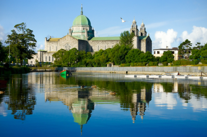 Galway Cathedral morning vew from the river
