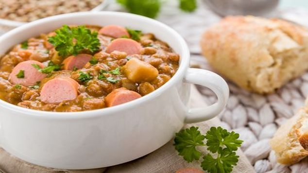 family dinners lentil stew with sausages