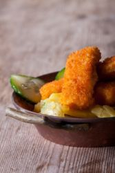 fish fingers and potato salad