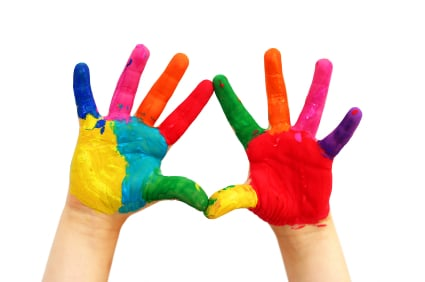 Painted child hands