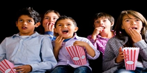 Image result for kids watching scary movie