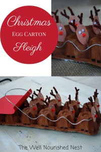 Christmas Craft Ideas Egg carton reindeer and Sleigh