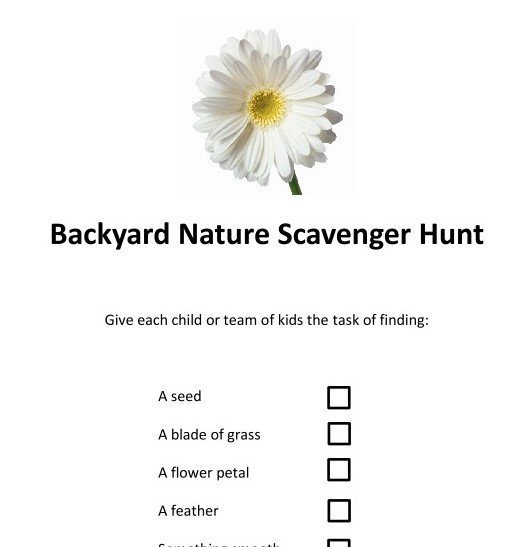 Free Download: Backyard Scavenger Hunt List