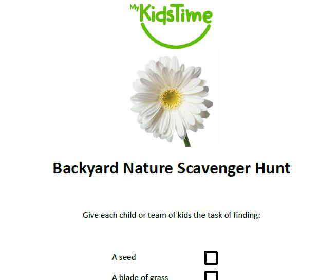 Backyard Scavenger Hunt List