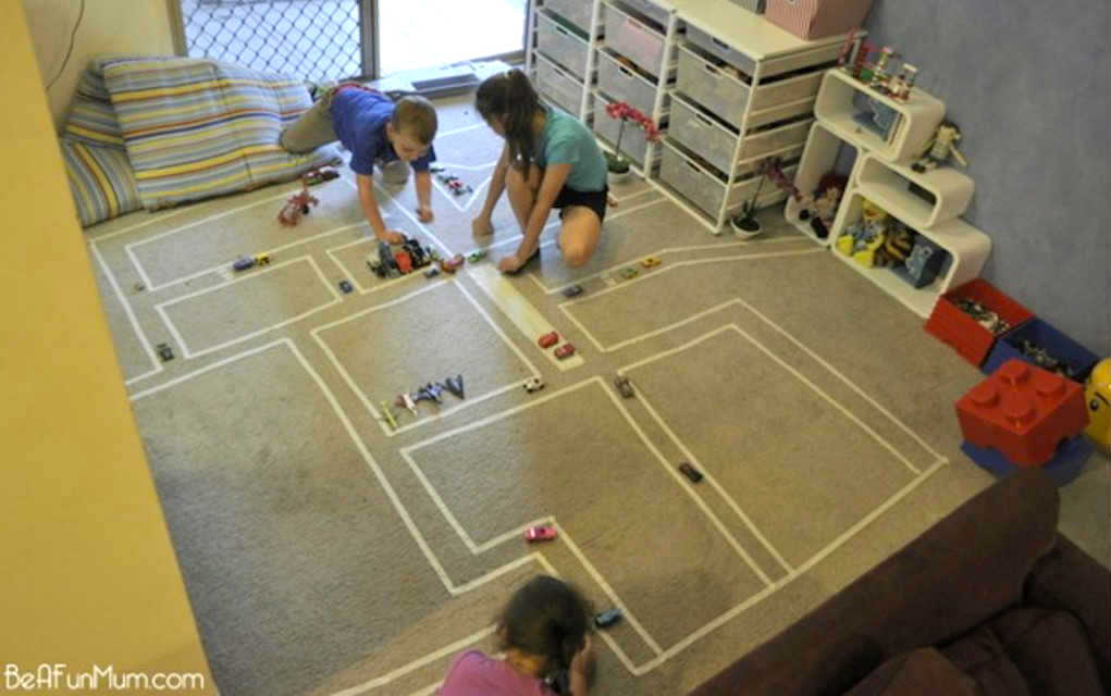 Masking tape roads rainy day activities