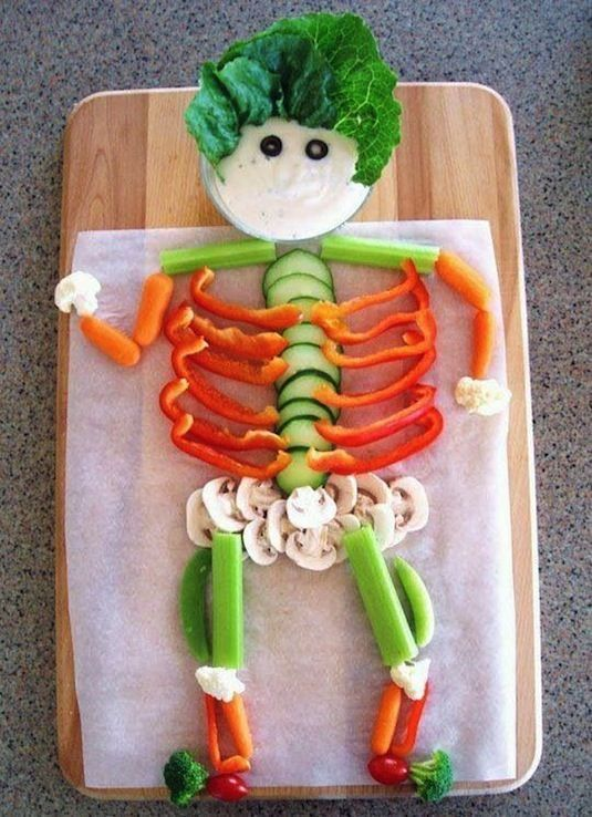 lunch box ideas veggie skeleton