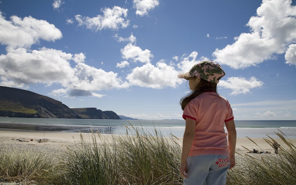 Little girl at Trawmore Strand, Achill Island, Co. Mayo family walks in Mayo