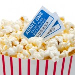 popcorn bucket with movie tickets