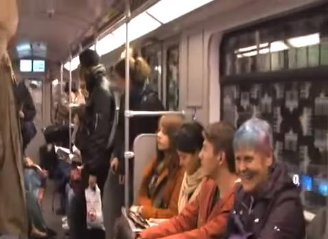 people laughing on subway