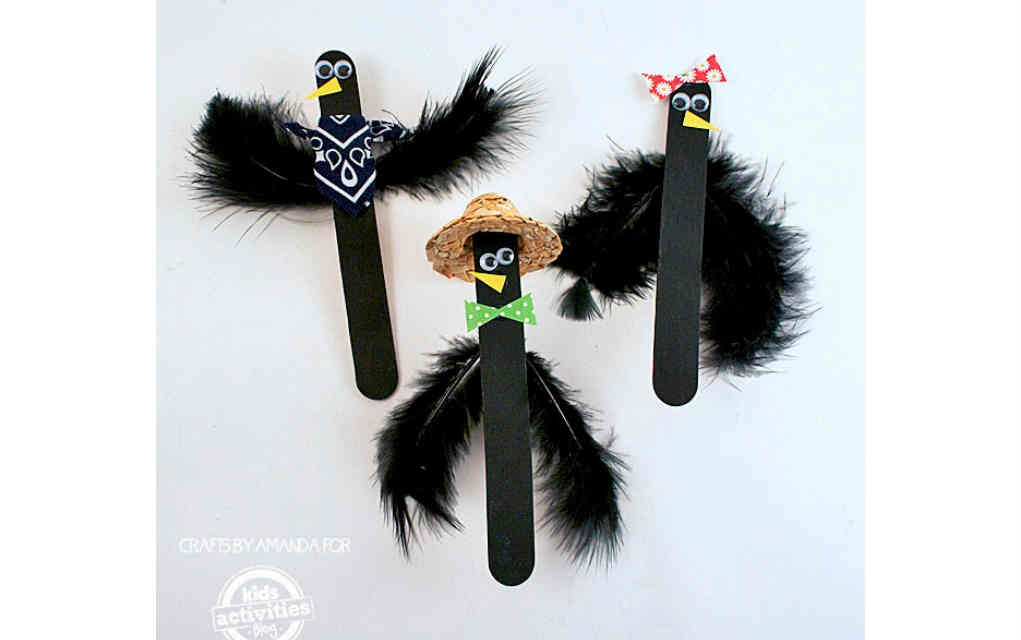 Craft stick crows for funky crafts for kids – Mykidstime