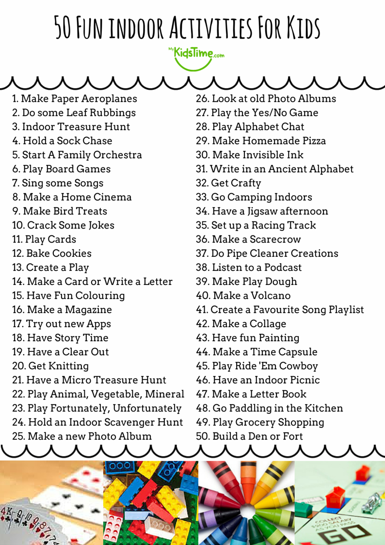 50 fun indoor activities for kids checklist for Fun projects for kids to do at home
