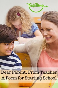 Dear Parent, From Teacher - A Poem for Starting