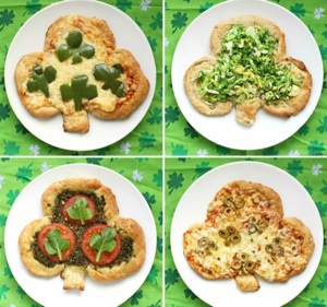 Shamrock Pizzas from Once upon a cutting board