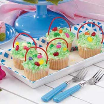 Easter basket cupcake for Easter Cupcakes - Mykidstime