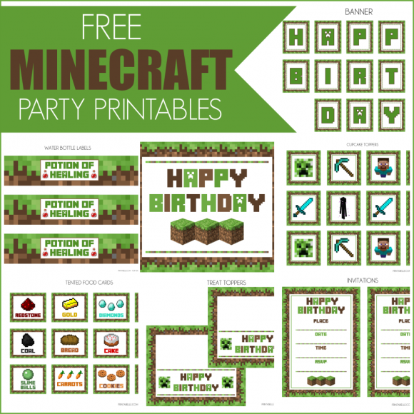 image relating to Printable Minecraft Birthday Invitations identified as 14 of the Easiest Minecraft Celebration Options in direction of Make sure Youll