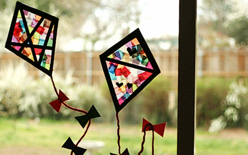 Stained Glass Kites paper crafts - Mykidstime