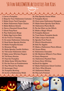 50 fun halloween activities checklist
