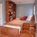 built in bookcase and drawers