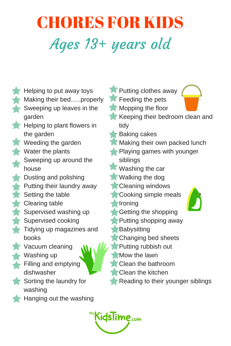chores for kids depending on their age chores for kids ages 13 years old and up