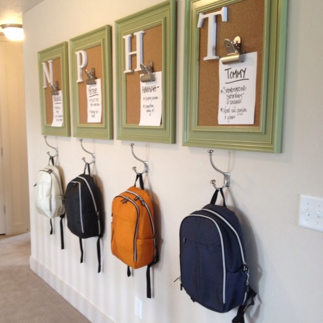 9 of the neatest room decor ideas for a child friendly home Ideas for hanging backpacks