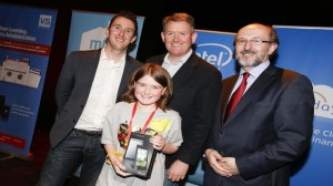 L-R Co-founders of Coolest Projects Noel King, Paul Phelan, Prof Brian MacCraith, president of DCU with Niamh. Picture Conor McCabe Photography
