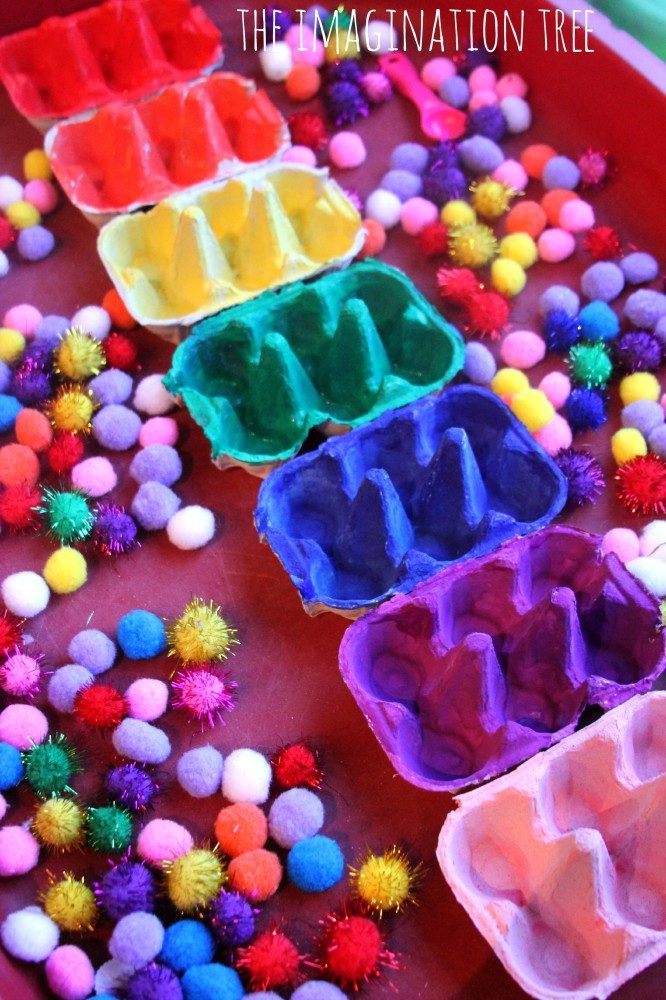 Craft Ideas For Kids Parties Part - 20: Egg-carton-colour-sorting-trays-666x1000