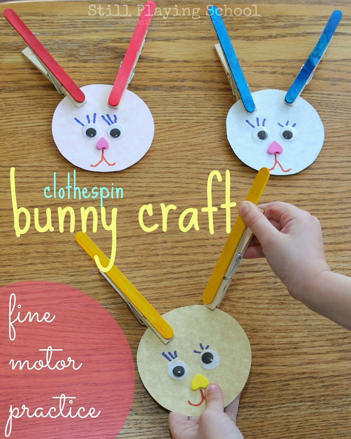 Wonderful Simple Craft Ideas For Kids Part - 9: Bunny-craft-clothespin