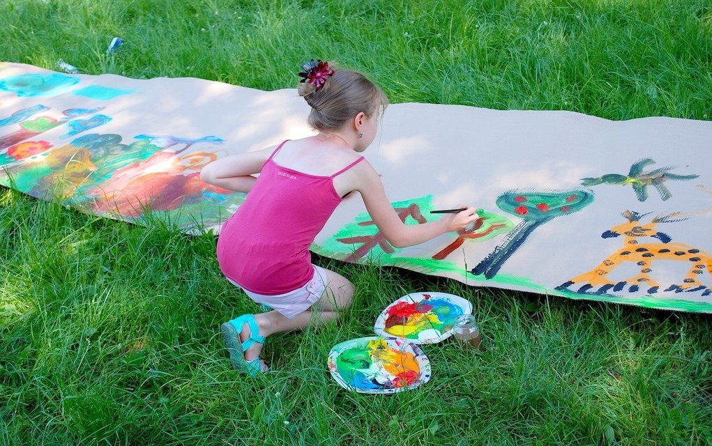 child painting outdoors summer crafts for kids