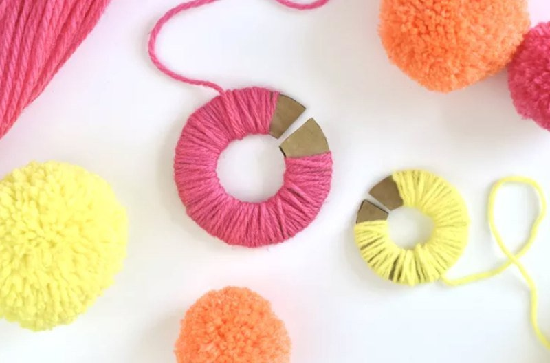 colourful yarn pompoms