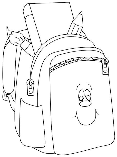 Back to school colouring pages backpack