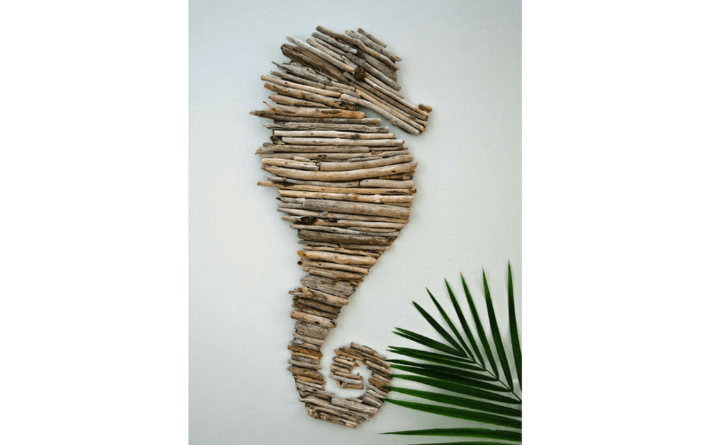 Seahorse made from driftwood for beach craft ideas