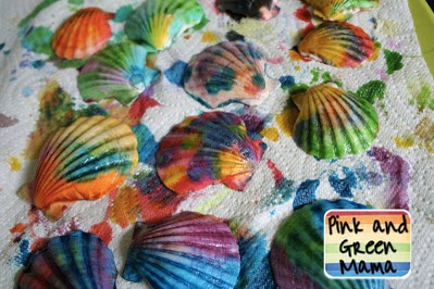 Painted Shells from Pink and Green Mama