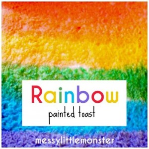 2 rainbow painted toast