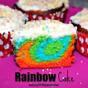 8 Rainbow coloured fairy cakes