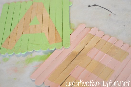 initials plaques craft sticks