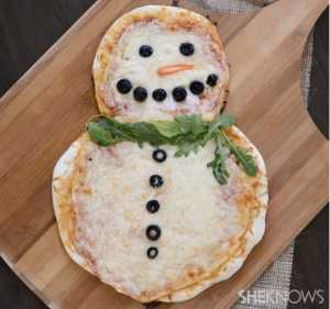Kid Friendly Christmas Recipes Snowman Pizza from She knows