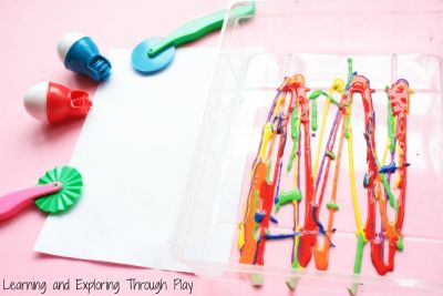 painting with playdough tools