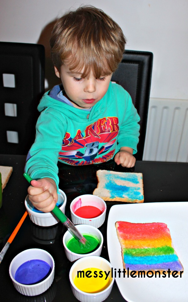 8 painting bread in rainbow colours