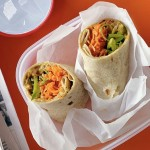 Quick Lunch peanut carrot snap pea wrap from my recipes