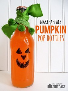 make a face pumpkin pop bottles