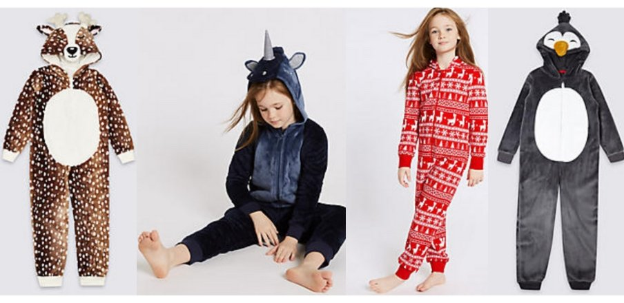 Festive Onsies from M&S Sleepwear for Kids and teens for Christmas gift ideas for teens