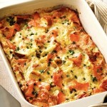 Christmas Brunch Ideas Bagel Lox and Egg Strata from BHG