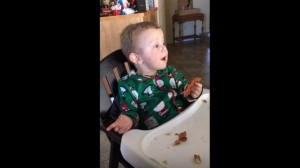 baby tries bacon