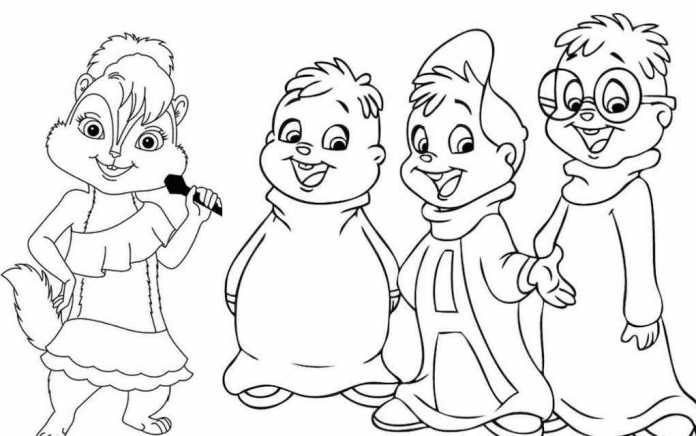 Alvin and the Chipmunks colouring pages - Mykidstime