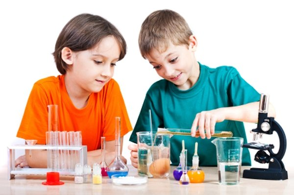 Science for kids Two little boys doing biochemistry research