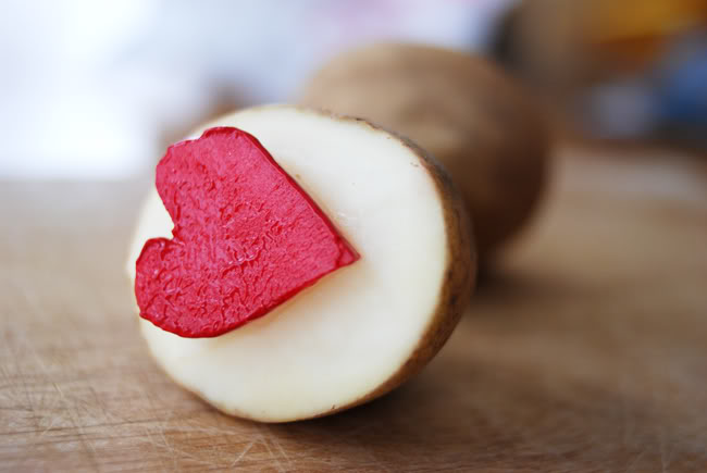 Heart potato stamp for Valentine Crafts for Toddlers