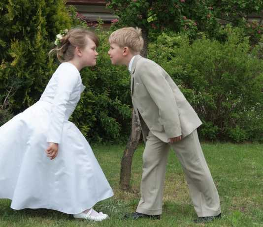 First communion boy and girl
