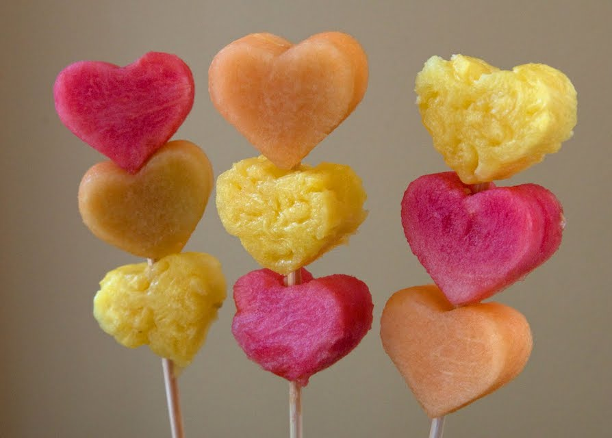 heart fruit kebabs for Valentines treats