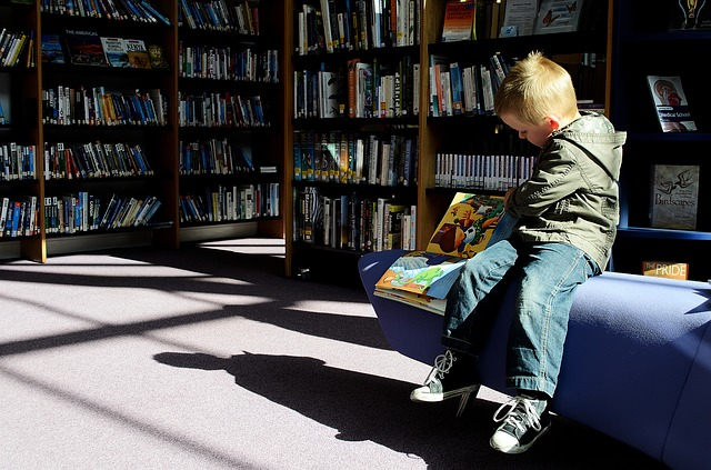 Boy library reading