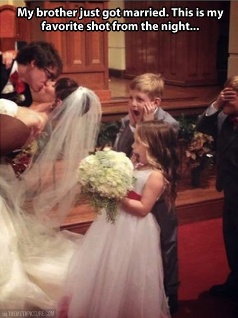 kids disgusted at wedding kiss